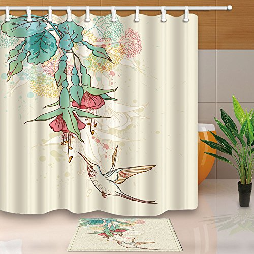 Hummingbird Floor Mat (KOTOM Art Decor Hummingbirds Flying on Tropical Flowering Branch 69X70in Mildew Resistant Polyester Fabric Shower Curtain Suit With 15.7x23.6in Flannel Non-Slip Floor Doormat Bath Rugs)