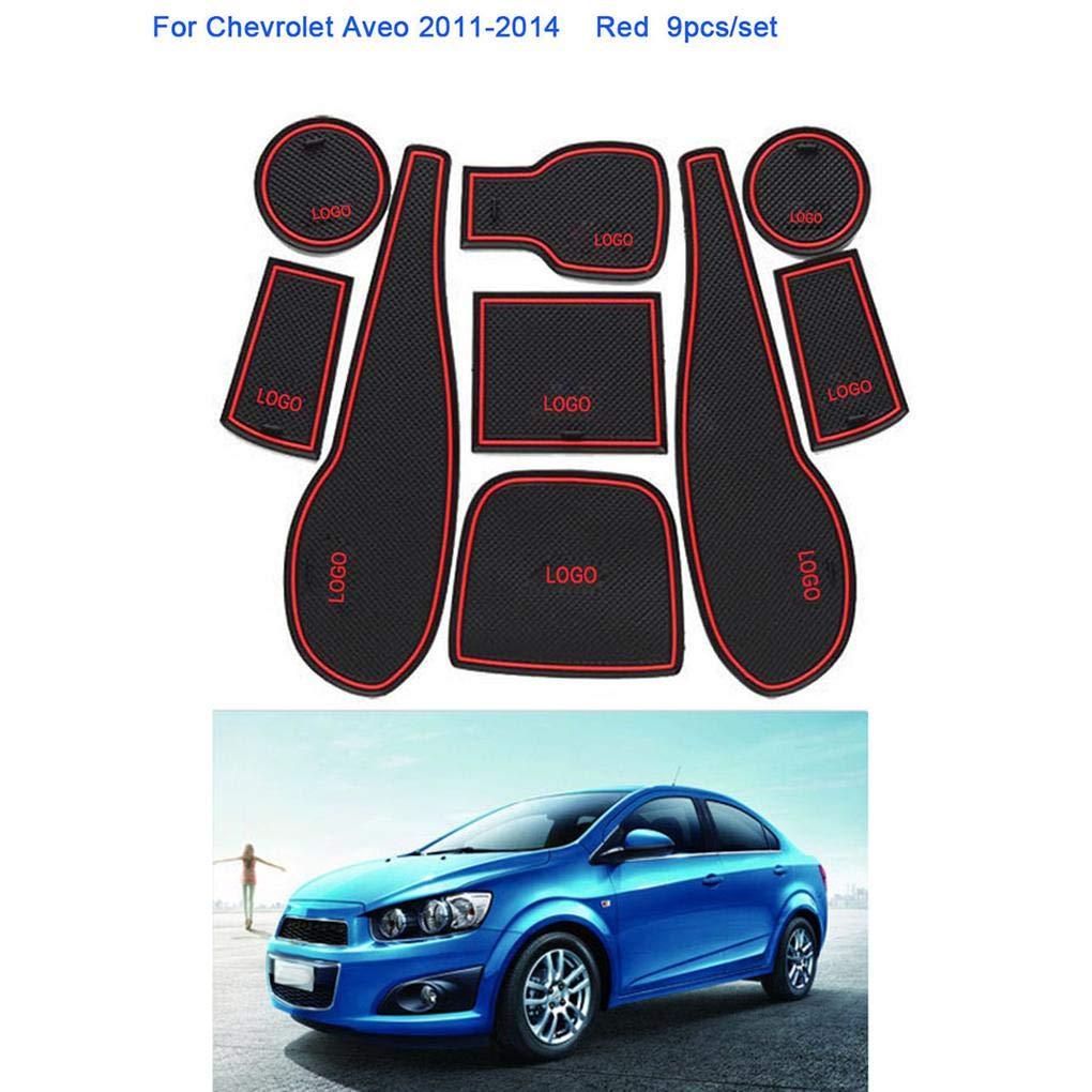 Set T/ür Groove Tor Slot-Becherhalter-Aufbewahrungsbeh/älter-Anti-Rutsch-Auflage-Matte Ersatz f/ür Chevrolet Aveo 2011-2014 9pcs