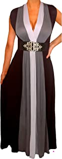 product image for Funfash Plus Size Women Black Slimming Empire Waist Block Maxi Dress Made in USA