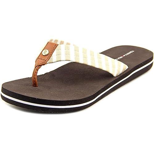 7a334ded3 Tommy Hilfiger Women s Cicin Thong Sandal Light Brown Fabric 9 B(M ...