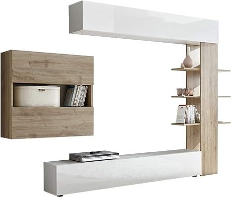 Tft Parete Attrezzata Mobili Soggiorno Mobile Tv Libreria 2 Pensili Akira 1 Bianco E Rovere Amazon It Casa E Cucina