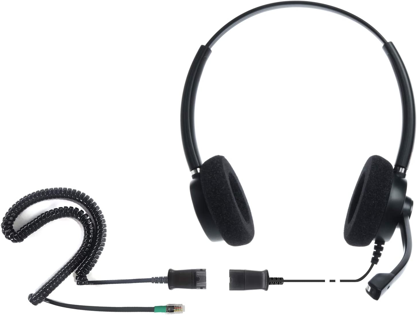 Mitel and Many Other IP Phones Corded Headset for Call Center,Office and Landline Phones w U10P Bottom Cable w RJ9 Jack Works with Poycom VVX,Avaya,Nortel IPD IPH-165 Binaural NC