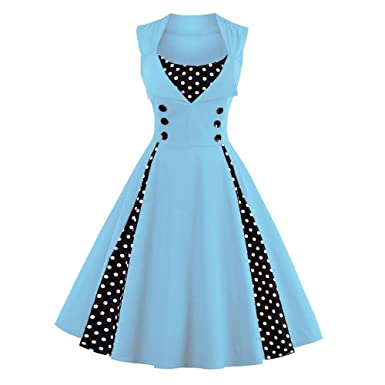 5955a1bede43 YaoDgFa Women s Vintage Dress 1950 s Cocktail Evening Party for Lady Skater  Dresses Rockabilly Ball Gown  Amazon.co.uk  Clothing