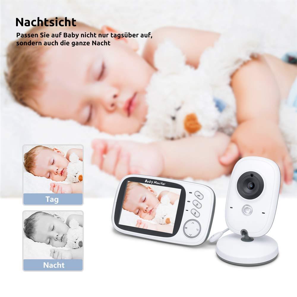 Video Baby Monitor mit Nachtsicht Gegensprechenfunktion L/ängere Reichweite und Temperatur/überwachung /Überwachung mit 3.2 LCD Babyphone mit Kamera ohne Strahlung