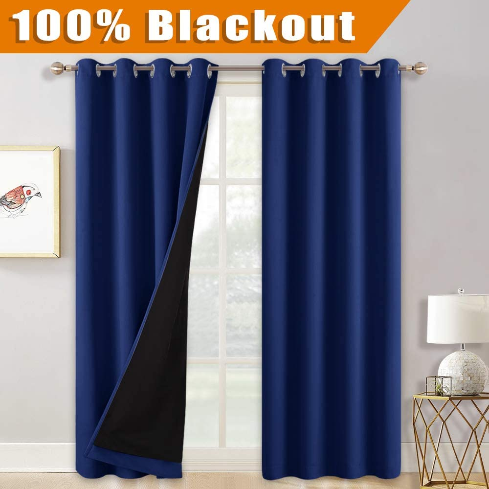 RYB HOME Blackout Curtains for Sliding Glass Door, Total Blackout Vertical Blinds Curtain Noise Reduce Room Divider Curtains for Office/Living Room, 52 x 108, Navy Blue, 2 Pcs