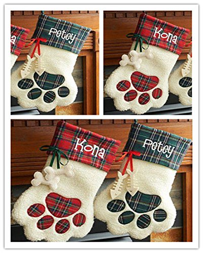 Personalized Embroidered Plaid Cat Paw Christmas Stocking (Blue Plaid-Cat) Cat Paw Stocking