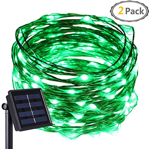 Anxus Solar String Lights, 100 LEDs Green Starry String Lights, Copper Wire solar Lights Ambiance Lighting for Outdoor, Gardens, Homes, Dancing, Christmas Party (2 pack) (Lamps 100 Lights Green Wire)