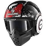 Shark Moto Casco Hark–Drak Evok, Negro/Blanco/Rojo, tamaño L
