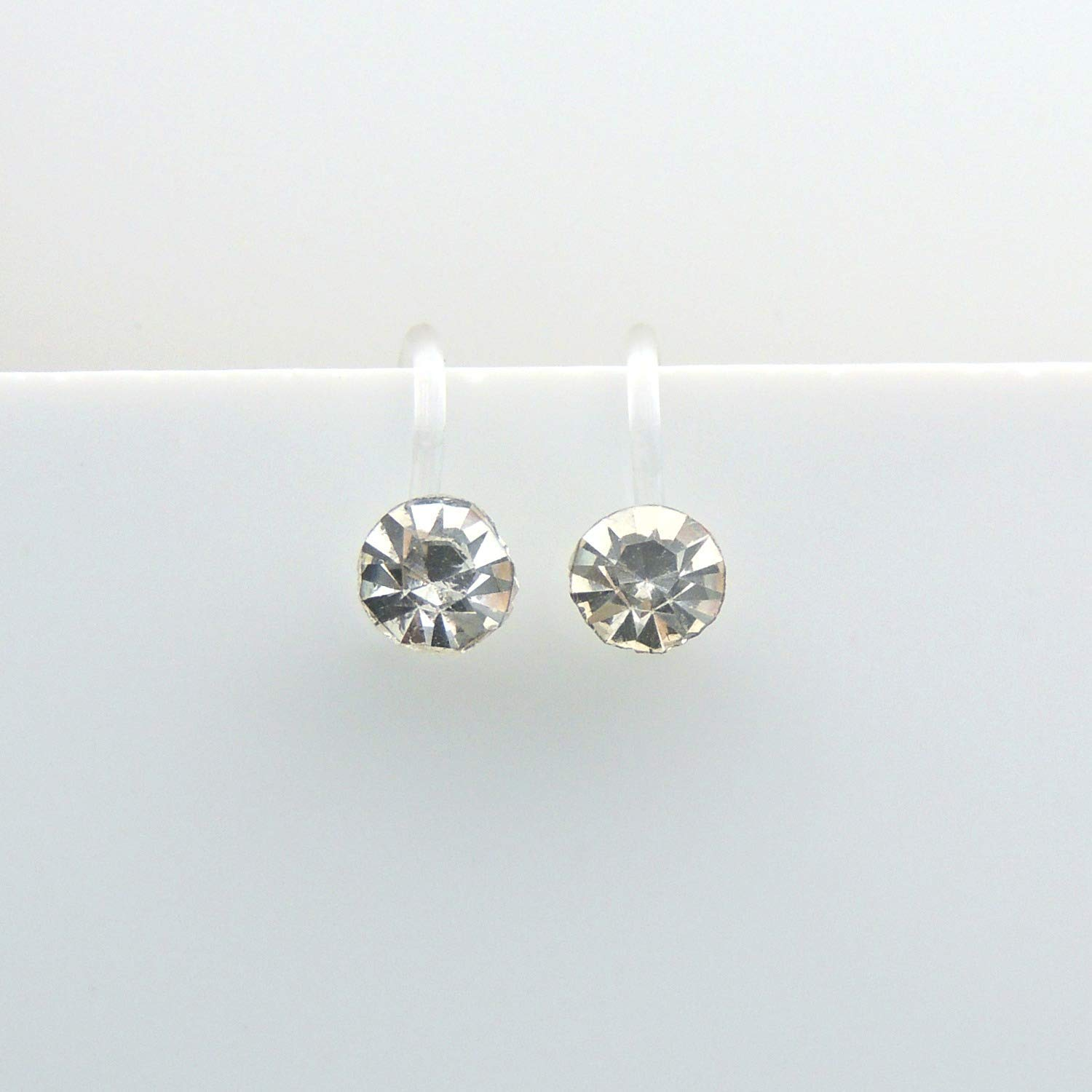 4mm Clear Glass Rhinestone Invisible Clip On Earrings for Non-Pierced Ears
