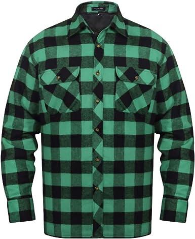 vidaXL Camisa Acolchada de Franela tartán a Cuadros Verde-Negro para Hombre Talla XXXL: Amazon.es: Ropa y accesorios