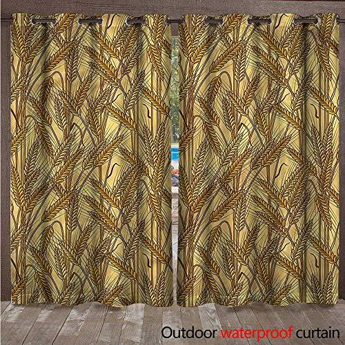 cobeDecor Harvest 0utdoor Curtains for Patio Waterproof Cereal Ears Rural Field W72 x L96(183cm x 245cm)