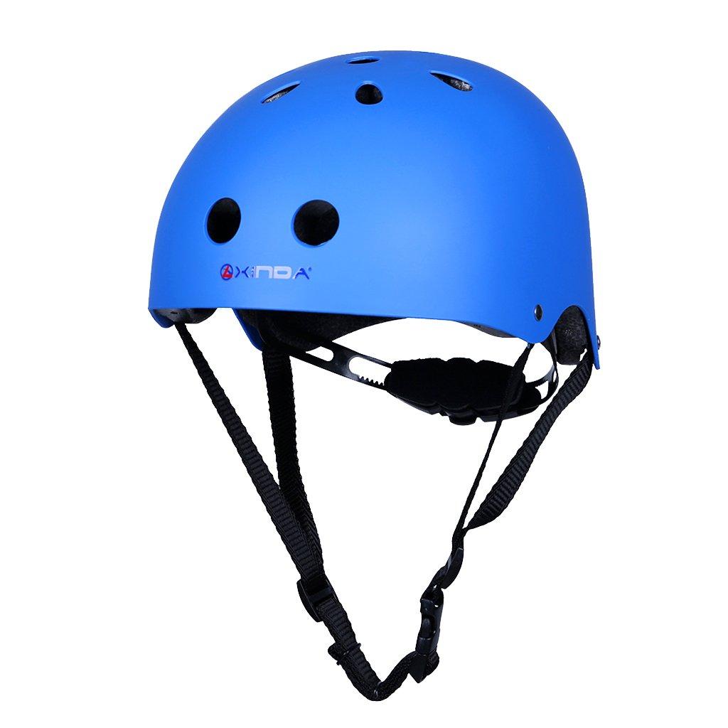 Fenteer Kids Adult Skate Helmet BMX Bike Inline Roller Skating Kayaking Cycling Protective Gear, For Head Size S (48-56cm), L (54-62cm) - Blue, L