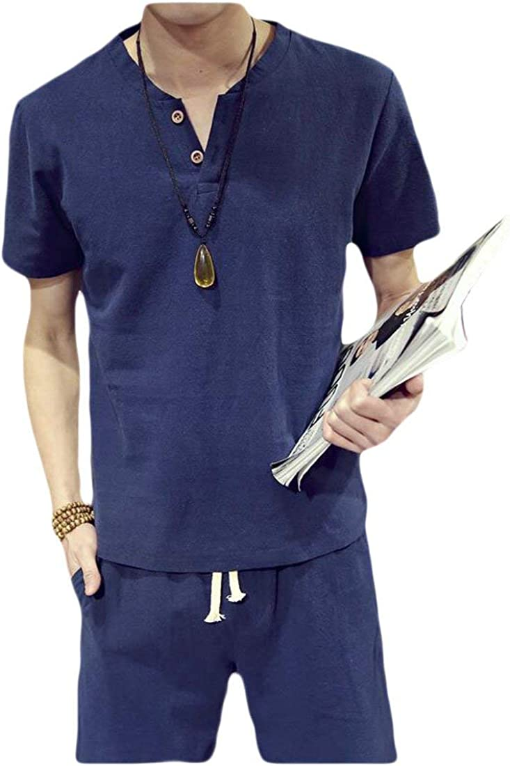 Joe Wenko Men Casual Cotton T-Shirt Short Sleeve Shorts Chinese Style Outfit Track Suit