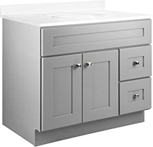 Design House 587097 Brookings Unassembled Modern Shaker Vanity Cabinet Only, 4-Inch Centerset, Gray