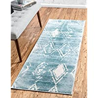 Modern Carved Geometric 2 feet by 6 feet (2 x 6) Runner Uptown Collection by Jill Zarin Turquoise Contemporary Area Rug