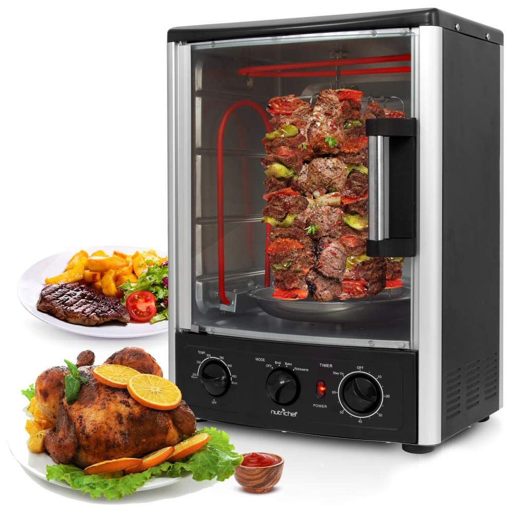 Nutrichef Upgraded Multi-Function Rotisserie Oven - Vertical Countertop Oven with Bake, Turkey Thanksgiving, Broil Roasting Kebab Rack with Adjustable Settings, 2 Shelves 1500 Watt - AZPKRT97