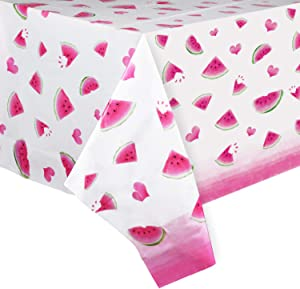 "WERNNSAI Watermelon Party Table Cover - 1 Pack 54"" x 108"" Rose Red Watermelon Party Supplies for Girls Birthday Baby Shower Wedding Disposable Plastic Watermelon Heart Pattern Table Cloth"
