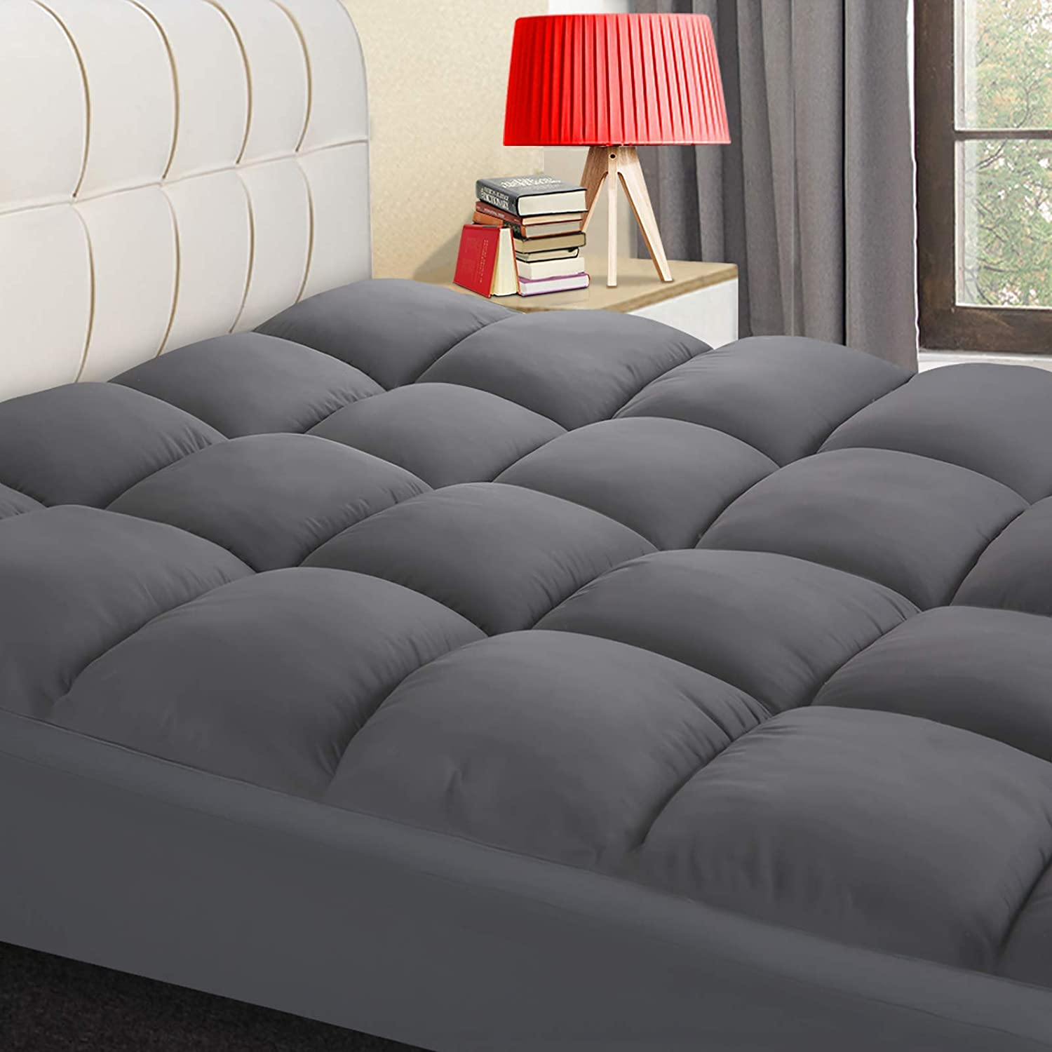 COONP Mattress Topper, Extra Thick Mattress Pad Cover, Cooling Pillowtop with 8-21 Inch Deep Pocket 3D Snow Down Alternative Fill(Full XL, Grey)