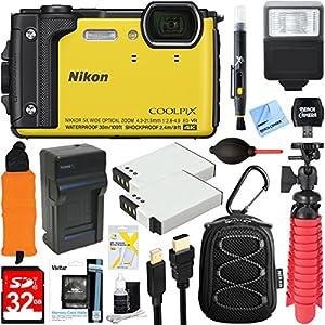 Nikon COOLPIX W300 16MP 4k Ultra HD Waterproof Digital Camera (Yellow) + 32GB Memory & Flash Deluxe Accessory Bundle