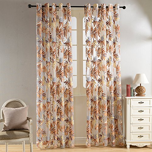 Top Finel Hylaea Leaves Window Treatments Panels Sheer Curtains For Living Room Bedroom 54 inch Width X 84 inch Length Single panel,Grommets,Brown