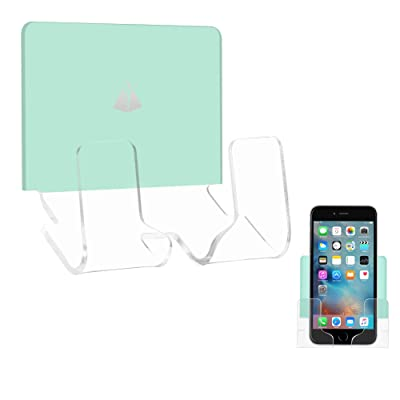 TXesign Adhesive Wall Phone Holder Mount for Smartphones iPhone External Battery Wall Holder Mount (Silky Ice Green & Transparent)