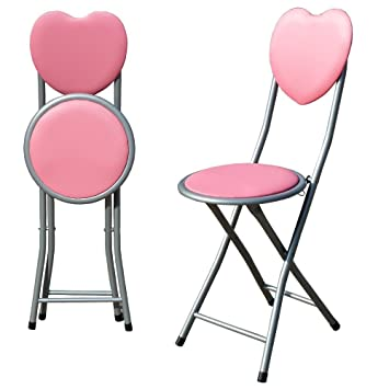 Charmant NEW PINK PADDED FOLDING LOVE HEART CHAIR