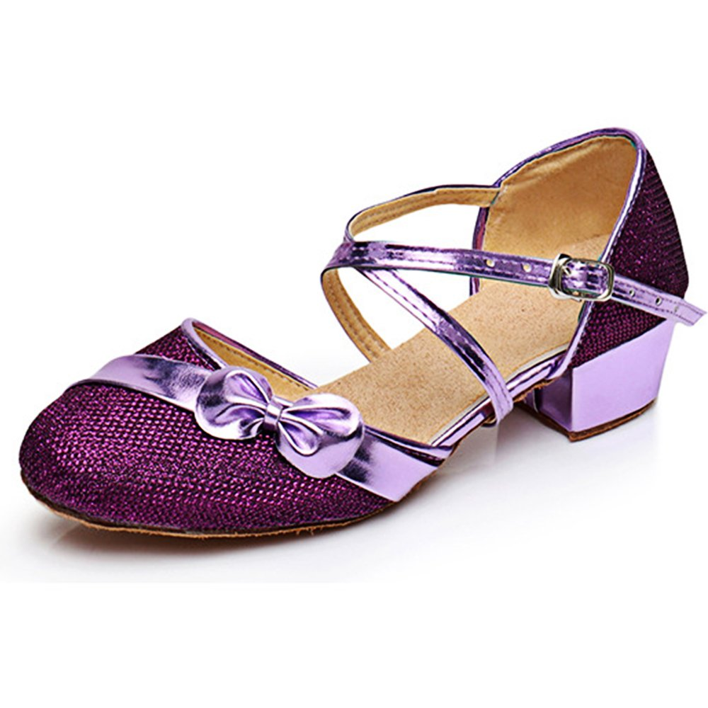 YING LAN Children Girl's Round-Toe Sparkly Glitter Side Bowknot Strap Modern Latin Ballroom Dance Closed-Toe Shoe Purple Flowers 35