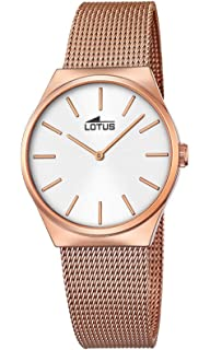 Lotus stainless steel pink gold color watch with white dial