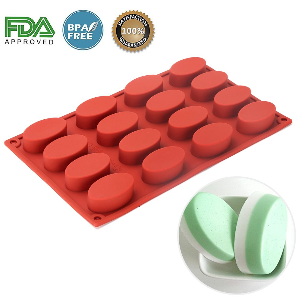 Silicone Oval Mold - 16 Cavities Nonstick Silicone Mold, Soap Mold Chocolate Molds, Ice Cube Tray, Silicone Candy Mold, DIY Moulds for Muffin/ Biscuit /Pudding