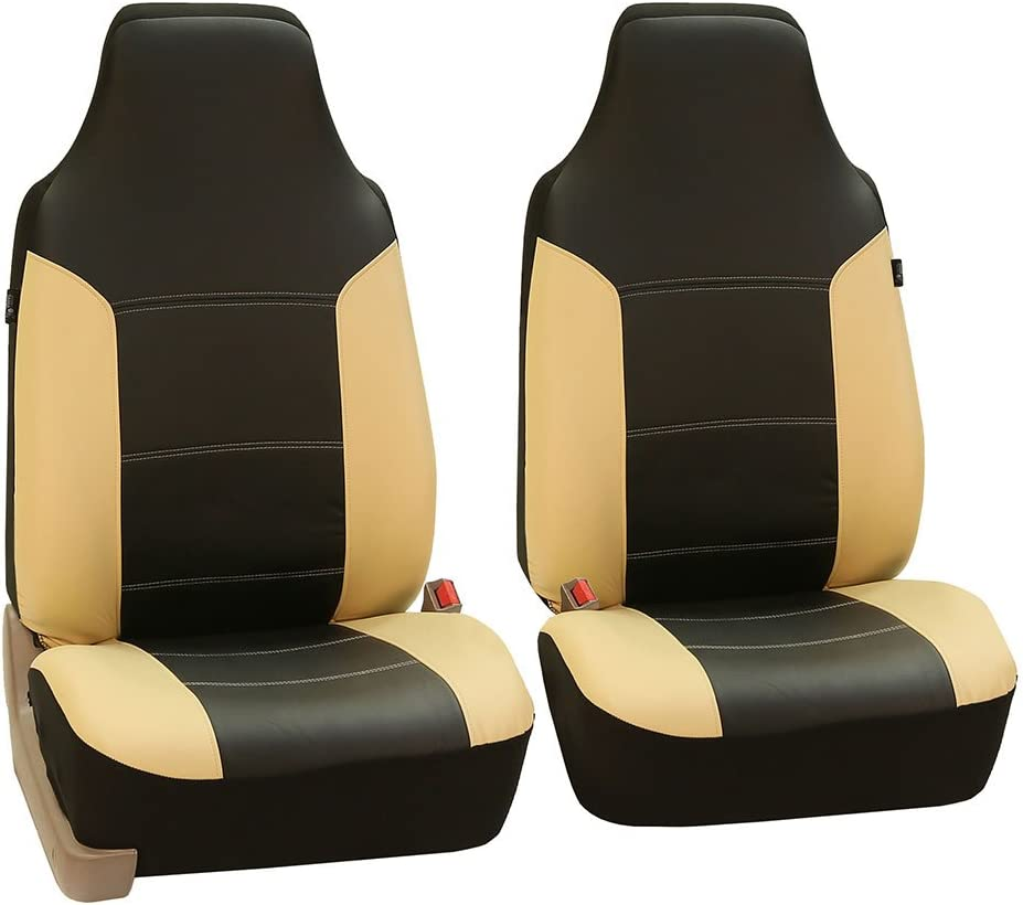 FH Group PU103102 High Back Royal PU Leather Car Seat Covers Airbag & Split Beige Black- Fit Most Car, Truck, SUV, or Van