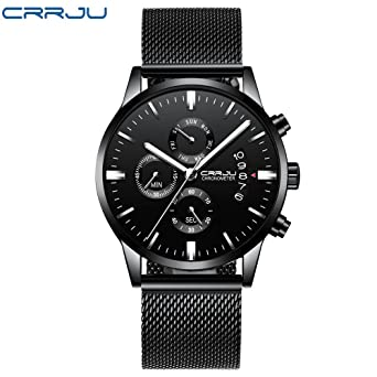 Amazon.com: Watches for Men, DYTA 3ATM Waterproof 3 in 1 Stopwatch Chronograph Calendar Business Watches with Alloy Strap Under 55 Analog Quartz Wrist Watch ...
