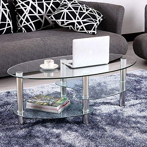 Mecor Glass Coffee Table with 2 Tier Tempered Glass Boards & Sturdy Chrome Stainless Steel Legs-Transparent Oval Glass End Table Coffee Tea Table Ideal for Home Office
