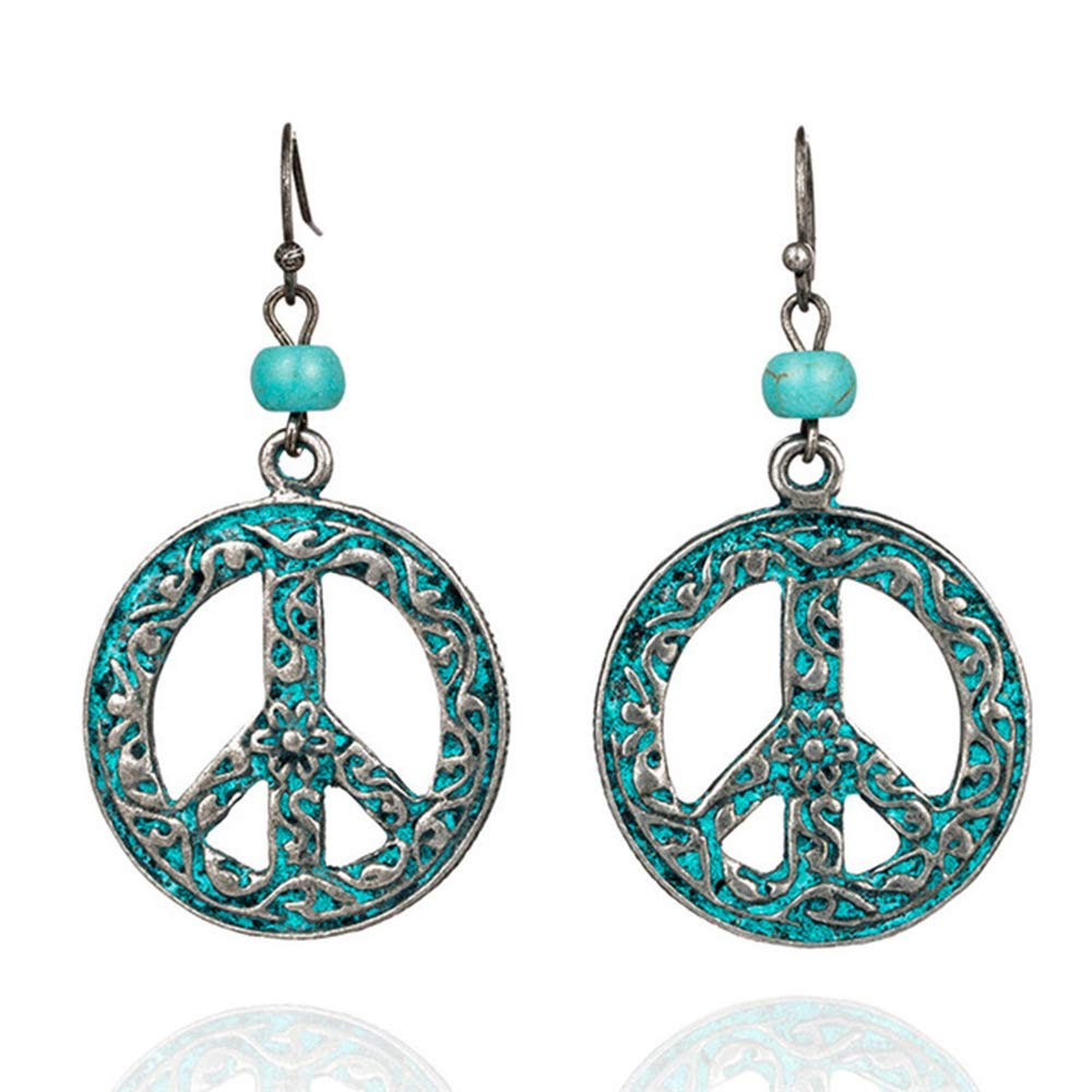 Vintage Style Jewelry, Retro Jewelry QIAN0813 Antique Vintage Bronze Round Peace Love Sign Symbol Hook Earring Carving Filigree Flower Drop Earring Women Jewelry  AT vintagedancer.com