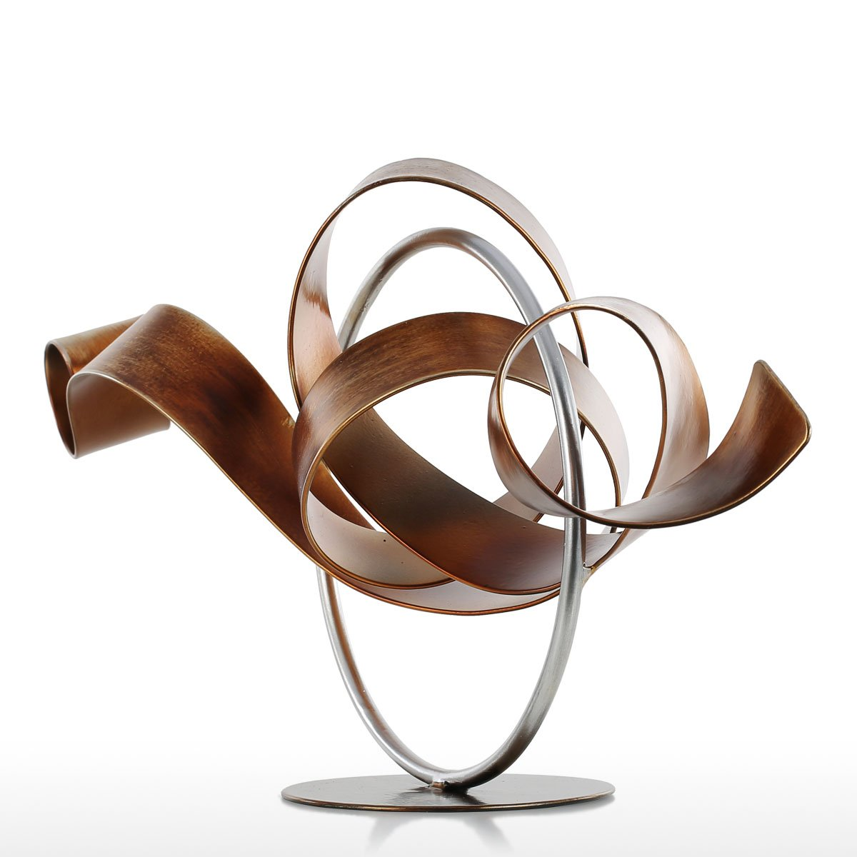 Tooart Abstract Sculpture Circle and Ribbon Modern Sculpture Metal Sculpture for Home Office Decro