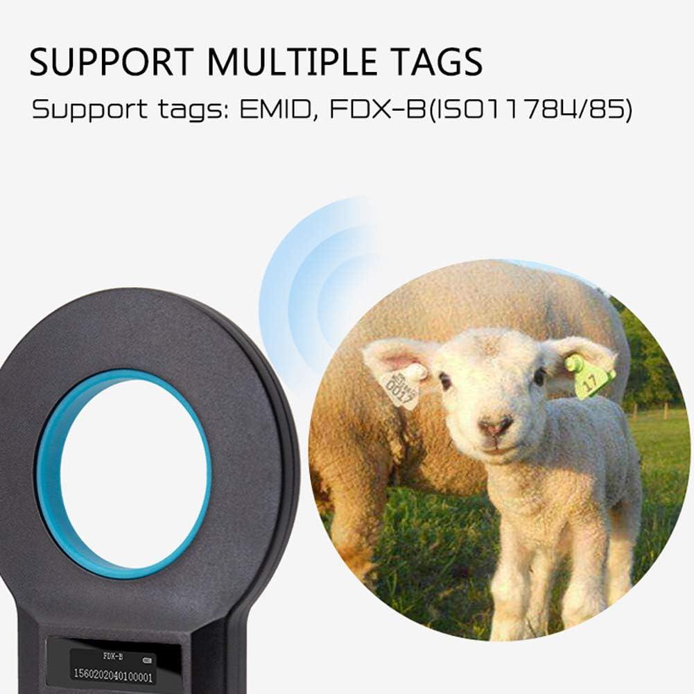EMID Lettore di Identificazione Animale 134,2 Khz // 125 Khz Lettore RFID Tascabile FDX-B Conforme Standard ISO 11784//85 Lettore di Tessere per Animali,Gatti,Cani KKmoon Animal ID Reader