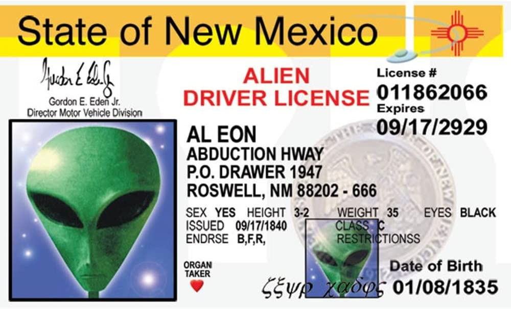 Alien AL Eon State of New Mexico Drivers License Novelty ID Card UFO Roswell