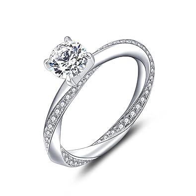 30fe1c2e72e354 YL Bague Femme en Argent 925 Sterling Bague de fiançailles Bague de mariage  Pour femmes et