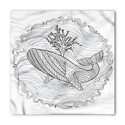 Modern Bandana by Lunarable, Razorback Whale Swimming in Doodle Stylized Ocean Waves Sea Underwater Illustration, Printed Unisex Bandana Head and Neck Tie Scarf Headband, 22 X 22 Inches, Grey - Razor The Ban