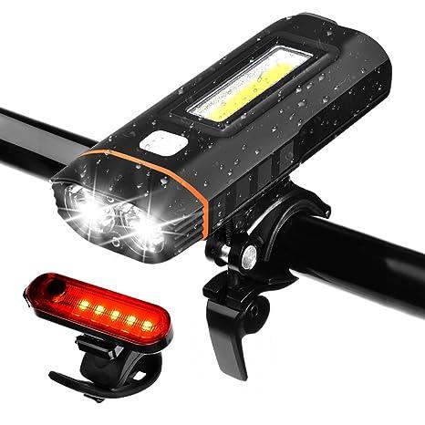 Luces Bicicleta 1500LM 5 Modos Luces de Bicicleta USB Recargable ...