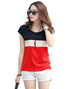 AnCart Women's Crepe Cap Sleeve T Shirt (Blood Red, X-Large)