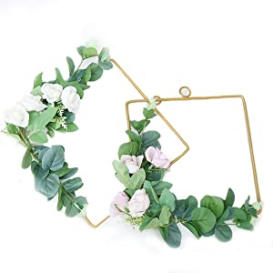 Artificial Gold Hoop Floral Wreaths Green Leaves for Door Wall Decor(HC2012TP,2PC)