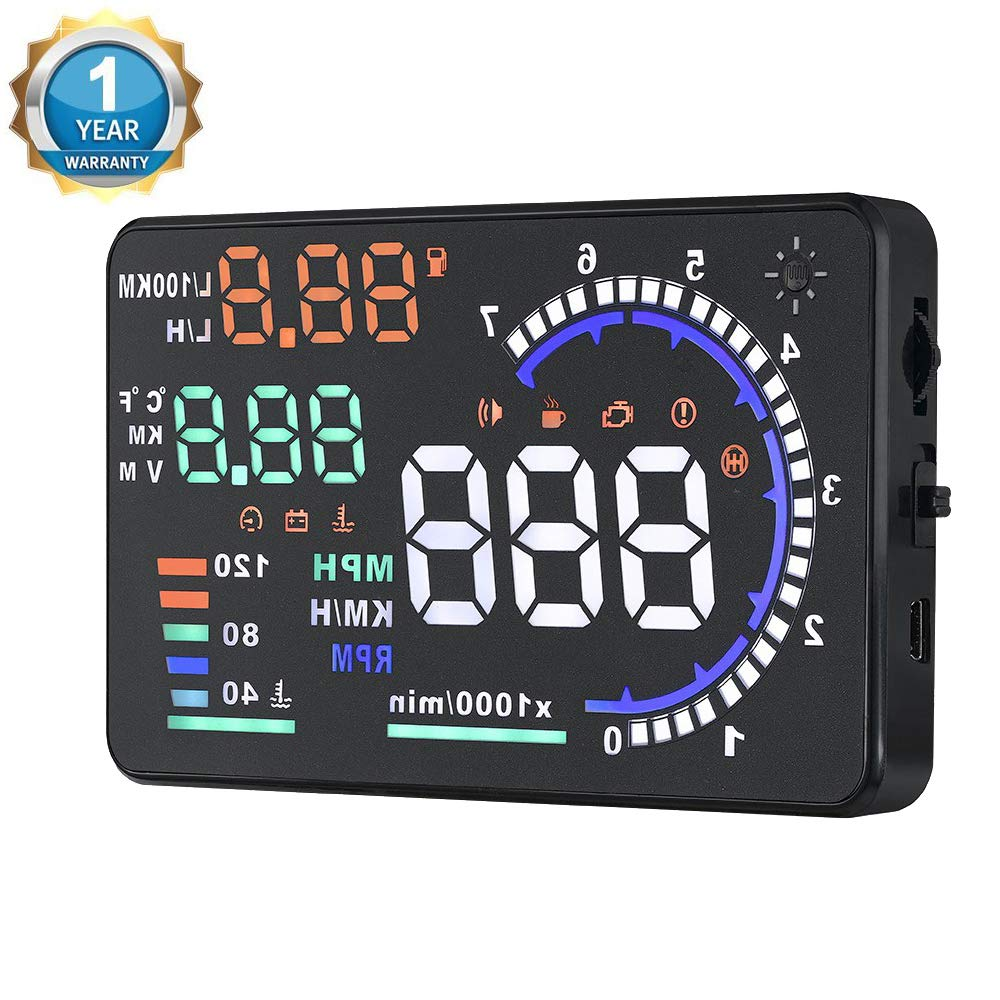 Qiilu A8 Head Up Display,5.5'' OBD II Car Windshield HUD with Speed Fatigue Warning RPM MPH Fuel Consumption Multiple-Color Bright