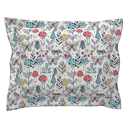 mod Mushrooms Flanged Pillow Sham Illustrated Bugs Entomology Autumn Butterfly Kid Toddler Room by Adehoidar 100% Cotton Sateen