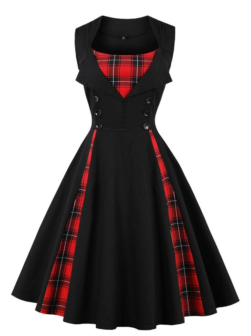 Killreal Women's 1950s Style Retro Vintage Rockabilly Dress with Plaid Patchwork Black Medium