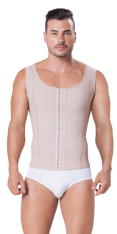 Fajitex Compression Garments Fajas Colombianas Para Hombre Bodysuit Shapewear Shirt Girdle for Men Shaper Liposuction (XXX-Large, Beige)