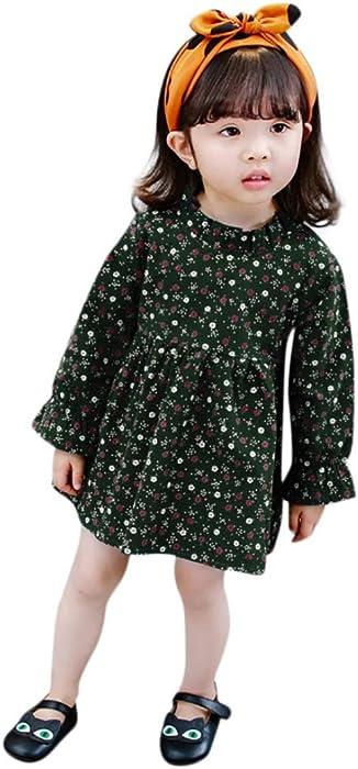 54db25a18651 Amazon.com  KONFA Toddler Baby Girls floweret Print Dresses ...