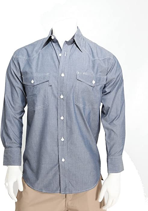 b2a3f54943f8 W S Blue Collar Men's Chambray Long Sleeve 60% Cotton, 40% Poly Western Work