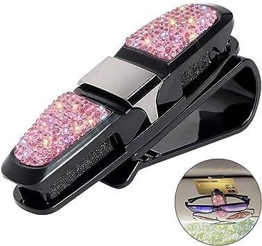 Pink Glasses Holder for Car Visor,Fashion Bling Crystal Rhinestones Car Sun Visor Glasses