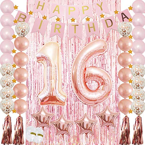 Sweet 16th Birthday Party Supplies Decoration Rose Gold-Confetti