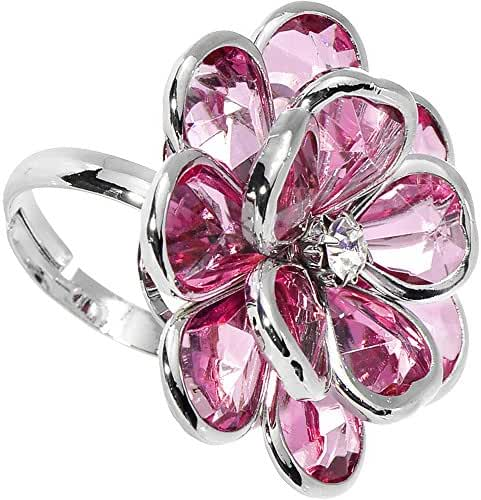 Pink Faceted Blooming Flower Adjustable Ring